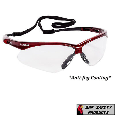 Jackson Nemesis 47378 Safety Glasses Clear Anti-fog Lens Inferno Red Frame Z87.1