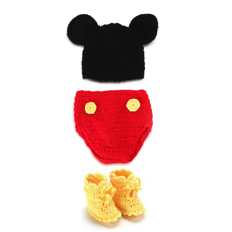 Newborn Baby Crochet Knit Costume Photography Photo Prop Hat Outfit - Mickey