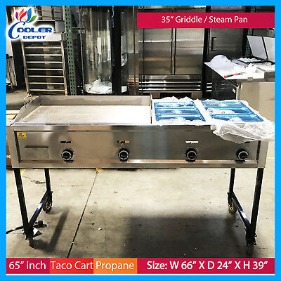 65 Taco Griddle Carts Heavy Duty Stainless Steel Propane Warmer Food Taco Cart