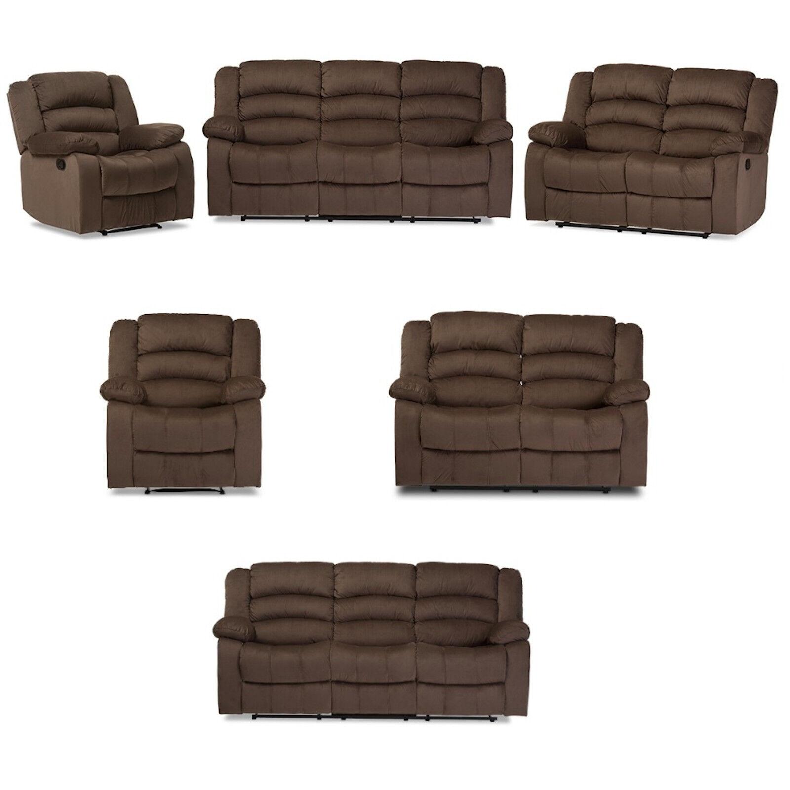 Microsuede Set 3-Seat Reclining Sofa, 2-Seat Loveseat, 1 Cha