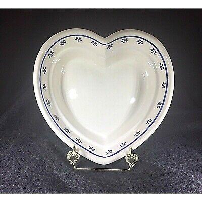 - Polish Pottery Boleslawiec Heart Shaped Bowl  Hand Painted Blue Flowers