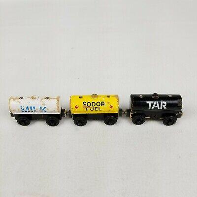 Thomas and Friends Wooden Sodor Fuel Tar Tidmouth Milk Tank Set Train 1996 Lot