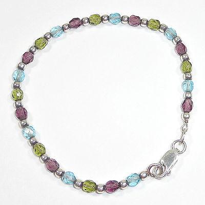 (Silpada Pastel Austrian Crystal Bead Bracelet .925 Sterling Silver B0702 Rare)