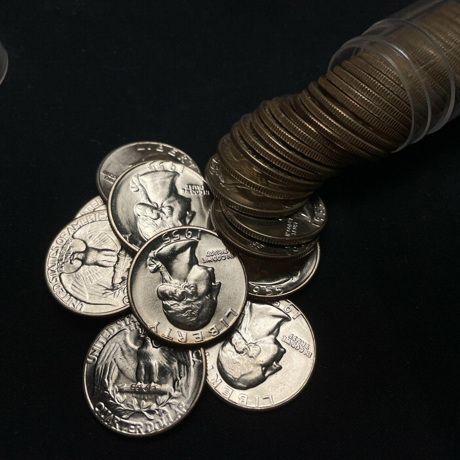 1955-P Uncirculated Washington Silver Quarter Original ROLL, 40 Coins BU A - $315.00