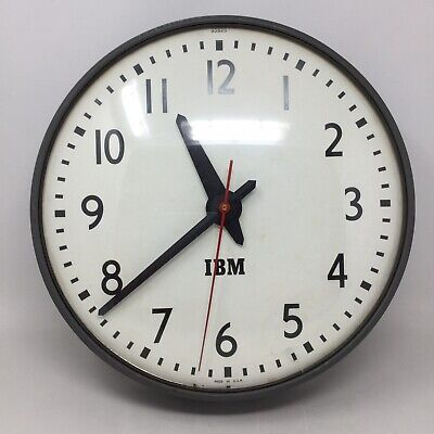 """IBM Industrial School Shop Warehouse Clock 95925 13"""" Made In USA Tested Working!"""