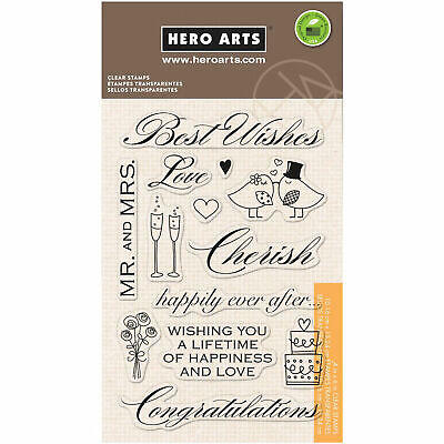 Best Wishes Wedding Sentiments Clear Acrylic Stamp Set by Hero Arts CL360