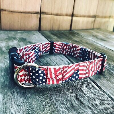 Extra Large Dog Collar - American Flag Patriotic 4th Of July Collar XL 18-26""