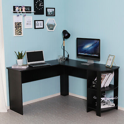 L-shaped Corner Computer Desk Workstation PC Table Home Office Study Furniture