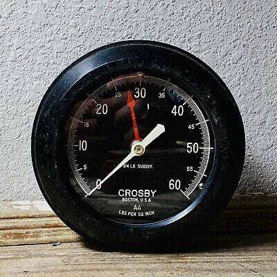 Large 6 Vintage Brass Pressure Gauge Crosby Black Face Altitude Steam Water