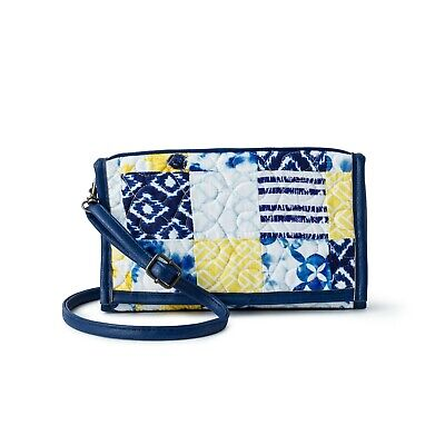 NEW DONNA SHARP COBALT SUN SYDNEY LARGE WALLET Crossover Bag BLUE YELLOW WHITE ()