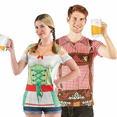 Women Men Christmas Market German Festival Lederhosen Tshirt Fancy Dress Costume