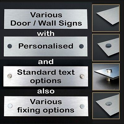Personalised Office / Door Signs - Brushed Aluminium with Various Fixing Options