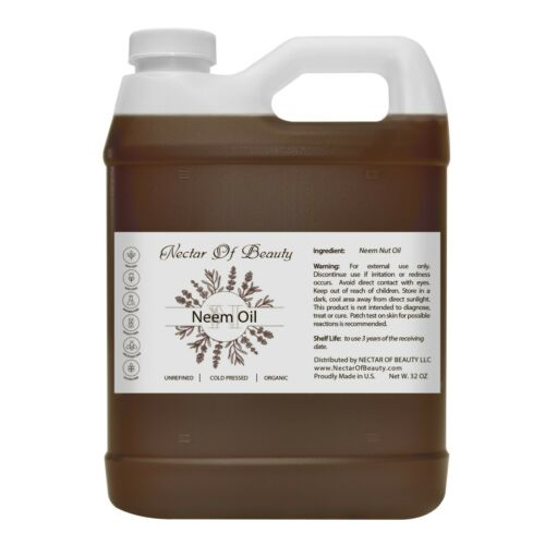 Neem oil organic unrefined virgin cold pressed uncut raw pure non-gmo quart bulk