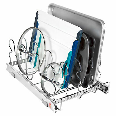Pull Out Pan and Lids Organizer Rack - Sliding Kitchen Lid Holder Cabinet
