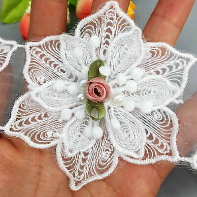 10pcs Rose Flowers Pearl Chiffon Lace Trim Fabric Ribbon Applique Sewing Craft