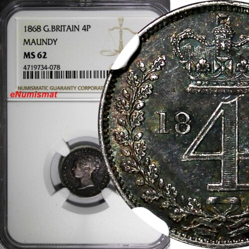 Great Britain Victoria Silver 1868 4 Pence NGC MS62 MAUNDY Mintage-4,158 KM#732