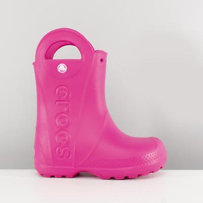 Crocs HANDLE IT RAIN BOOT Kids Ankle High Waterproof Wellington Boots Candy Pink