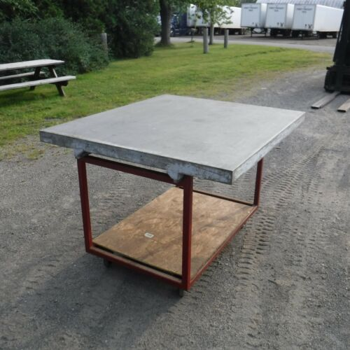 """WELDING TABLE 56 X 49 X 3"""" GROUND FLAT ALUMINUM WELDING TABLE ON ROLLING STAND"""