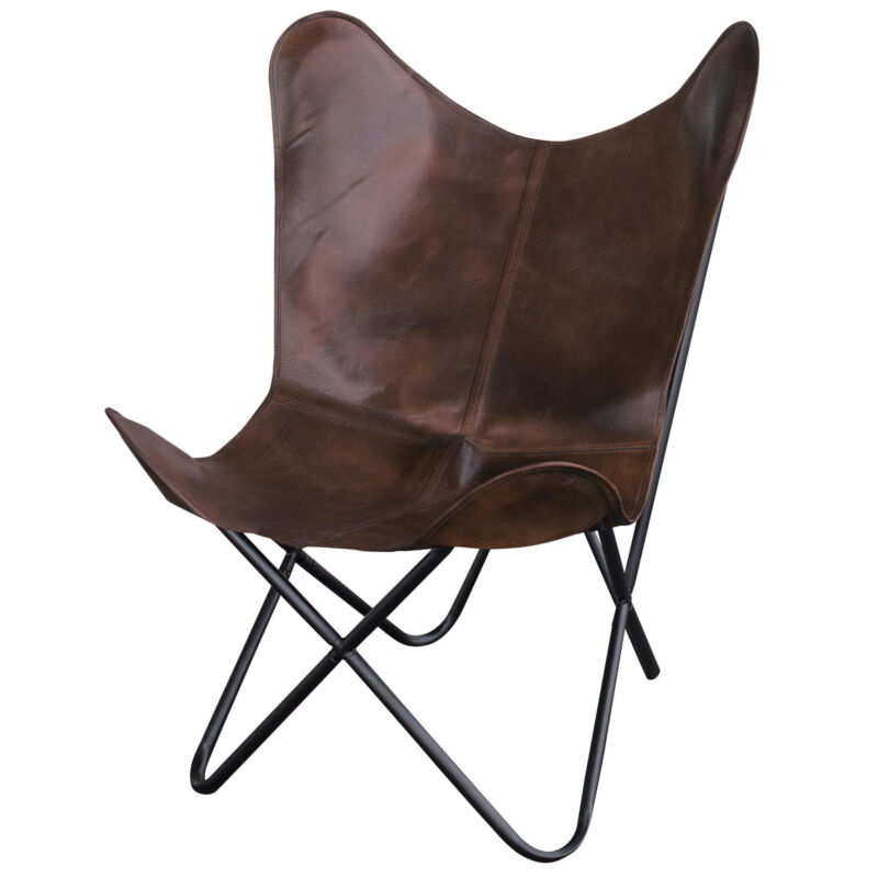 AmeriHome BFCLCBN Natural Leather Butterfly Chair in Brown