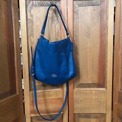 Coach Women's Handbag Purse Tote Bag Teal Blue Bag Pebble Genuine Leather