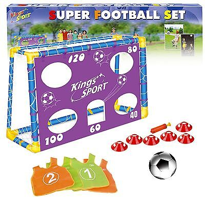 Football Shooting Free Kick Penalty Practice Goalpost Net Cones Vests & Ball Set