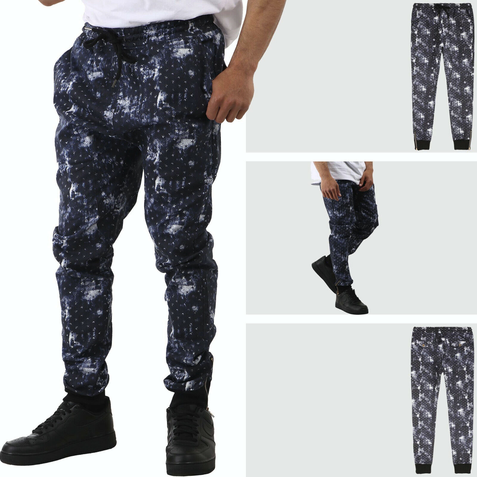 Mens Star Twill Jogger Pants Casual Pattern Fashion Style Tr