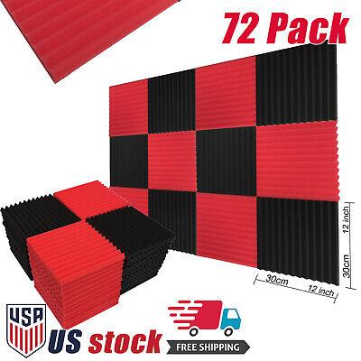 "72 Pack Acoustic Panels Studio Soundproofing Foam Wedge tiles 1""x12""x12"" Red BK"