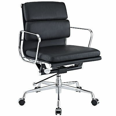 Eames Office Chair Soft Padded Mid Low Back Reproduction Leather Black