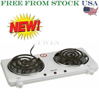 Better Chef Portable Electric Dual 2 Buffet Burner Hot Plate Cook Warmer