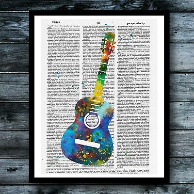 Guitar Music Vintage Dictionary Art Print Instrument Poster Modern Wall Decor - Guitar Decorations