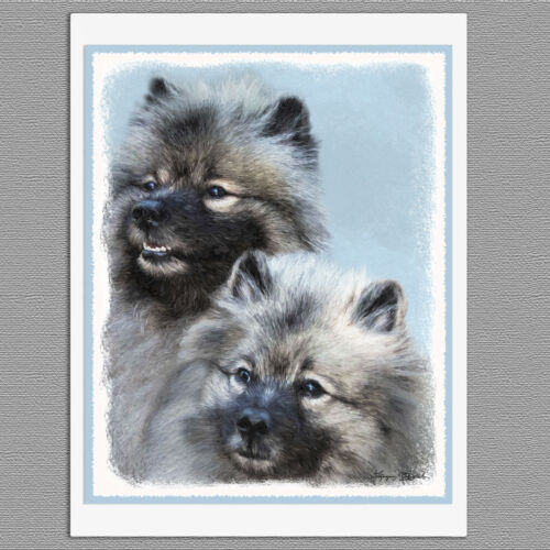 6 Keeshond Brothers Dog Blank Art Note Greeting Cards