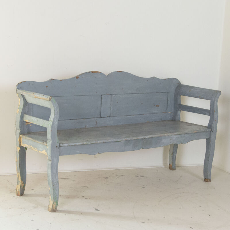 Antique Hand Painted Blue Bench, Hungary