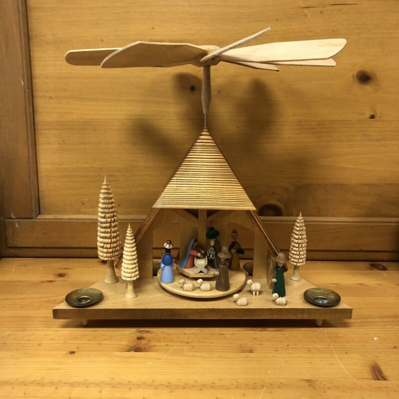 Vintage Expertic Christmas Pyramid Nativity Scene German Democratic Republic