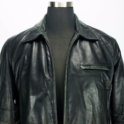 Guess Company Marciano 1981 Distressed Medium Black Leather Jacket Grunge Motor