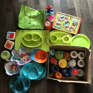 Assorted kids plates and cups/bottles