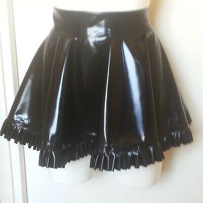 THE FEDERATION PVC ZIP FRONT A LINE SHAPED MINI SKIRT ALL SIZES MADE