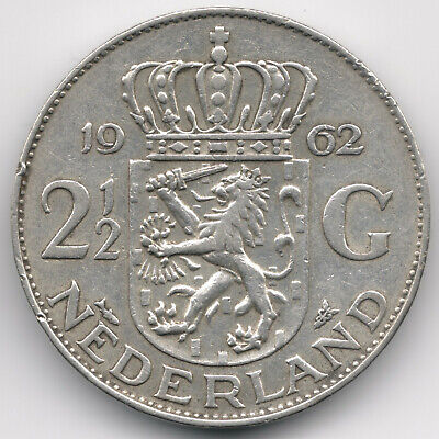 Netherlands : 2 1/2 Gulden 1962 Silver