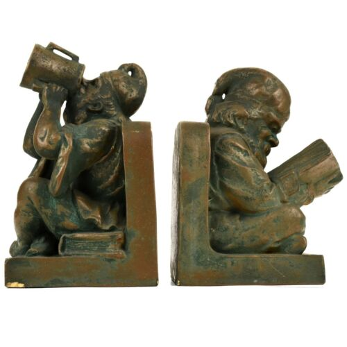 Arts and Crafts Northwestern Terra Cotta Monk Dwarf Gnome Pottery Bookends c1910