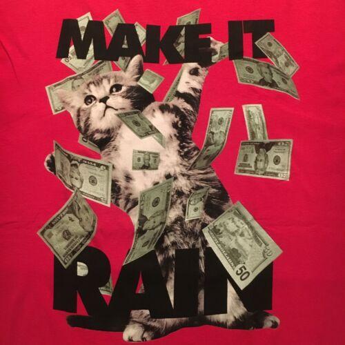 feline funny KITTEN CAT IN BLOWING MONEY t-shirt - MAKE IT RAIN - NEW - (L)