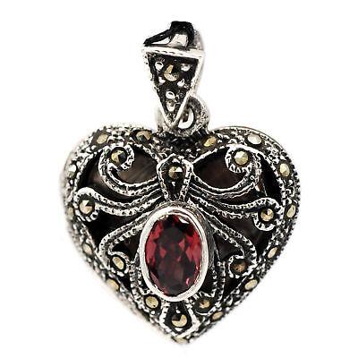 Sterling Silver Marcasite Heart Locket (Marcasite Heart Locket Pendant)