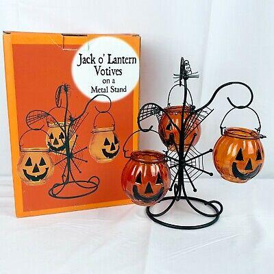 Spooky Tree Votive Candle Holder Halloween Decor Jack o Lantern Spider Spiderweb