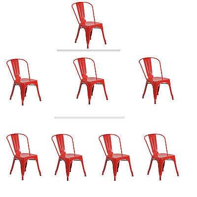 Tolix Red Steel Stacking Dining Chair Commercial Quality 1-4 Unit Discounts ()