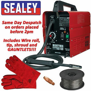 Sealey MIGHTYMIG100 Professional No Gas Mig Welder 100 amp 230v Gasless inc wire
