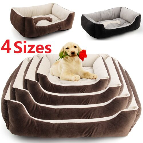 LARGE LUXURY WASHABLE PET DOG PUPPY CAT BED CUSHION SOFT MAT WARM BASKET COMFY
