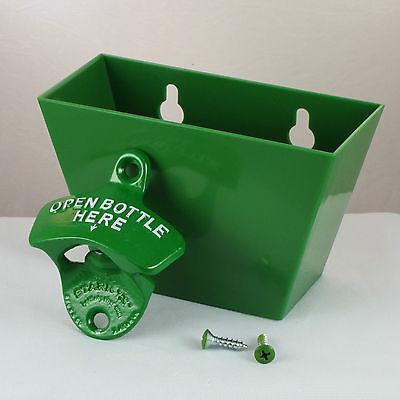 Green OPEN BOTTLE HERE Combo Starr X Wall Mount Bottle Opener / Cap Catcher Set