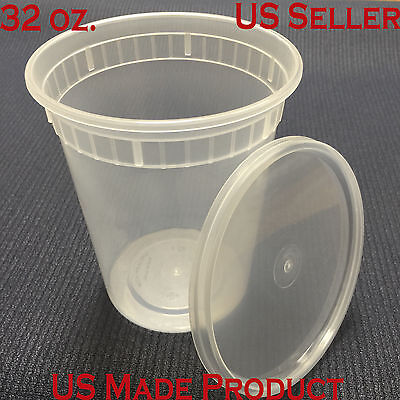 Deli Food Containers Round Soup Cup Plastic 32 Oz. With Lids 240 Sets