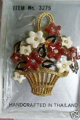 Fancy Gold Tone Metal Enamel Crystal Flower Basket Pin Brooch Thailand new