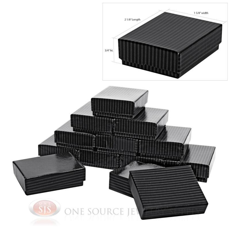 """12 Black Pinstripe Cotton Filled Boxes 2 1/8"""" x 1 5/8"""""""