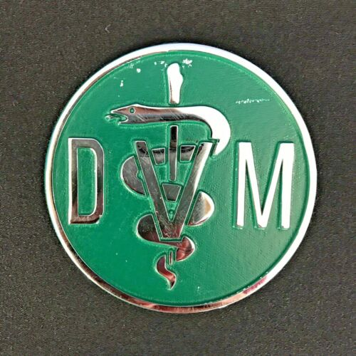 VTG Doctor of Veterinary Medicine Collectible Metal Plaque DVM Caduceus Symbol