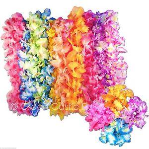 48 pc Hawaiian Leis & Bracelets Lot (24 ea) Flower Party Favor  Wedding Supplies